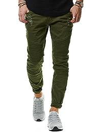 d648838b58a3 EightyFive Herren Jeans-Hose Denim Slim Fit Zerrissen Schwarz Grau Grün  EF1513