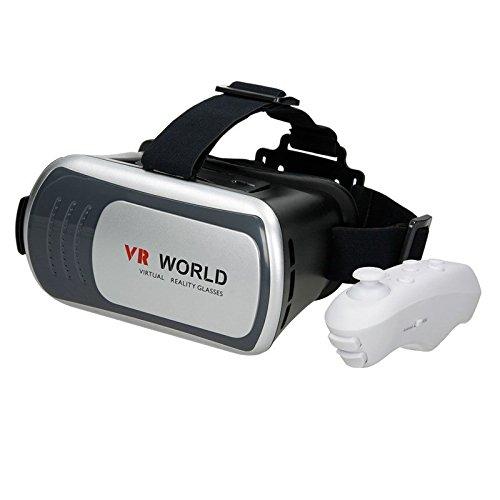 ECD Germany 3D VR World Virtual Reality Brille mit Bluetooth Gamepad Remote Controller für 3.5''~6.0'' Android Smartphones, mit einstellbarer Haltebügel Grau (Brille 267)