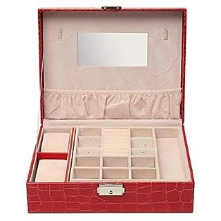 ChaRLes Leder Box Ring Storage Case Halskette Holder Watch Schmuck Case Organizer - Rot
