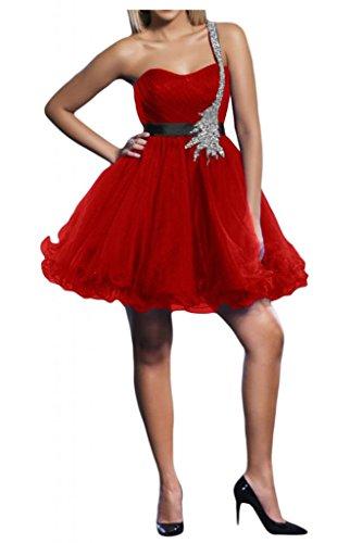 Dimensioni TOSKANA benda ONE-Shoulder sposa la sera vestimento tulle Cocktail Party danza abiti da sposa corto Rosso