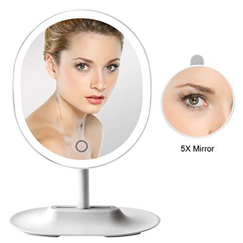 FASCINATE Recargable Espejo Maquillaje con Luz con 5X Magnetismo Extraíble Espejo Ajustable de 180° USB y Batería de Litio Operado Espejo de Vanidad de Mesa
