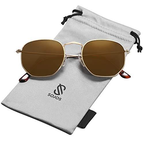 Sojos retro vintage specchio polarizzate lenti poligono protezione uv occhiali da sole sj1072 con oro telaio/oro lente