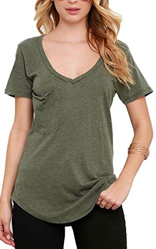 Ecowish da donna a maniche corte scollo a V Casual Loose top tasca T-shirt Camicetta Vert - Vert armée