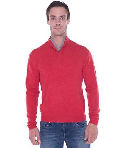 CASHMERE 4 U 100% Reiner Kaschmir Stehkragen Pullover mit Ellbogen Patch und Reißverschluss am Hals XL, Coquelicot(mohn rot)