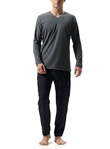 Genuwin Herren Zweiteiliger Schlafanzug Lange Pyjama Set aus Baumwolle, Klassische Nachtwäsche für Männer - Langarm Shirt mit V-Ausschnitt & Lange Hose, 1 Set (M, Dunkelgraues Shirt + Schwarze Hose)