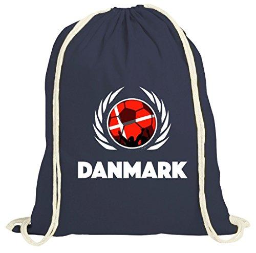 Denmark Wappen Soccer Fussball WM Fanfest Gruppen Fan natur Turnbeutel Gym Bag Fußball Dänemark dunkelblau natur