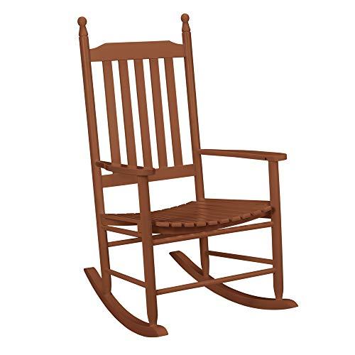 [casa.pro] Schaukelstuhl Dunkel-Braun aus Massiv-Holz - Hochwertiger Relax-Stuhl mit Armlehne zur Entspannung oder als Still-Stuhl - Schwing-Sessel Schaukel-Sessel für Wohnzimmer Küche Balkon Garten