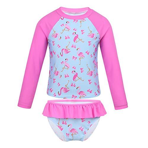 FEESHOW Mädchen Tankini Sets Langarm Badeanzug mit Flamingo Motiv Sportlich Schwimmshirt Badeshirt+ Badeslip Volants Kinder Bademode Rose Pink 98-104/3-4Jahre