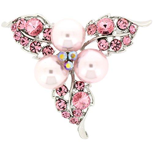 Spilla rosa chiaro cristallo swarovski e perle fiore foglia spilla