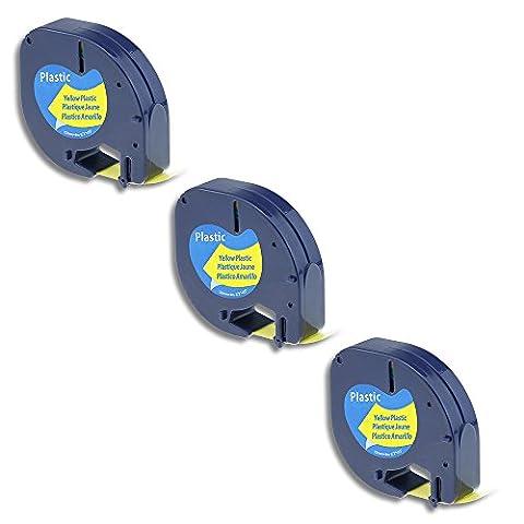 3 Pack 91202 S0721620 Compatible Dymo Letratag Tape Black on Yellow Plastic Tape / 12mm x 4m / Compatible for Dymo Label Maker LT-100H LT-100T LT-110T QX 50 XR XM 2000