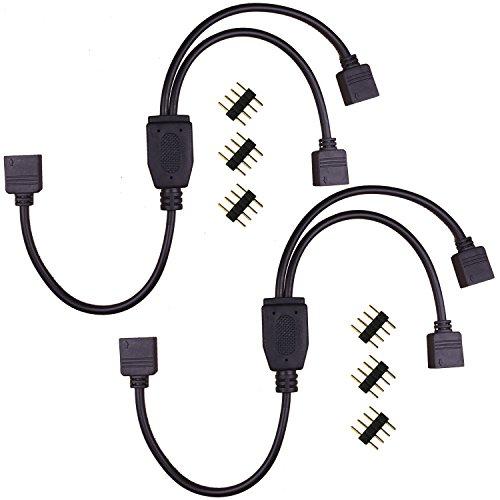 Kabenjee Lötlos 4Pin RGB LED Streifen Verteiler,1to2 Y Splitter Kabel Stecker für SMD5050 3528 2835 RGB LED Band Licht,4pin LED Stripe 1 zu 2 Adapter Verbinder,4 polig RGB LED Bänder Schnellverbinder