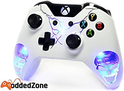 Skulls Blue Illuminating Xbox One Custom UN-MODDED Controller Exclusive Design