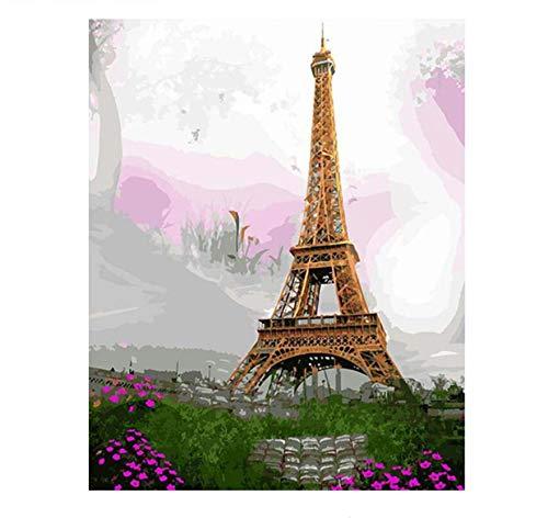 Malen Nach Zahlen Moderne Malerei Der Eiffelturm Landschaft Diy Kits Zeichnung Malen Nach Zahlen Wohnkultur Wandkunst (Leicht Eiffelturm Zeichnung)