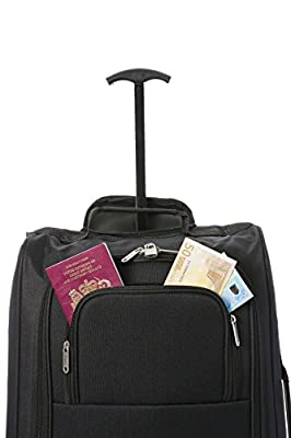 """21""""/55cm 5 Cities Black Carry On Lightweight Cabin Approved Trolley Bag Hand Luggage"""