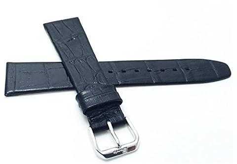 Extra long (XL), 14mm de large, Noir pour femme 'Cuir véritable Bracelet de montre, style classique, finition satinée, EST également disponible en Marron et brun clair