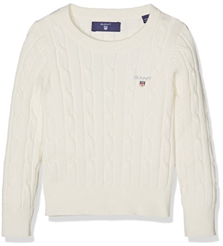 Gant O. Stretch Cotton Cable Crew, Felpa Bambina, White (Eggshell), 11-12 Anni