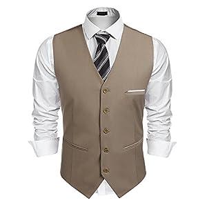 Coofandy Herren Weste Anzugweste Slim fit V-Ausschnitt Ärmellose mit 5 Knöpfen Gilet Business Casual Klassisch Basic Männer Anzugweste für Herren