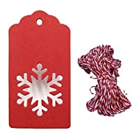Allsunny Christmas Kraft Paper Tags 50Pcs Christmas Tree Snowflake Hanging Kraft Paper Tags Card Rope Gift Wrapping Red Snowflake
