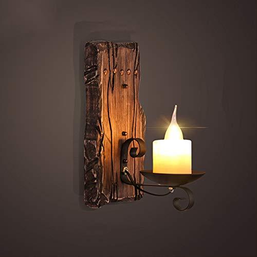 Kerze Antike Hölzerne Wandleuchte, Barocke Klassische Vintage Lichter, Retro Wandleuchte für Wohnzimmer Büro Haus Küche Schlafzimmer Dachboden Bar -