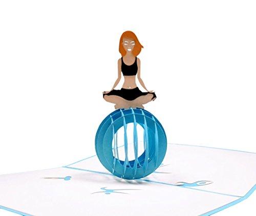 igifts und Karten Cute Yoga Lady 3D Pop up Grußkarte-Fitness, Balance, gesund, Meditation, Ball-Geburtstag, Spaß, nur weil, Freundschaft, Think Of You - Womens Gesund