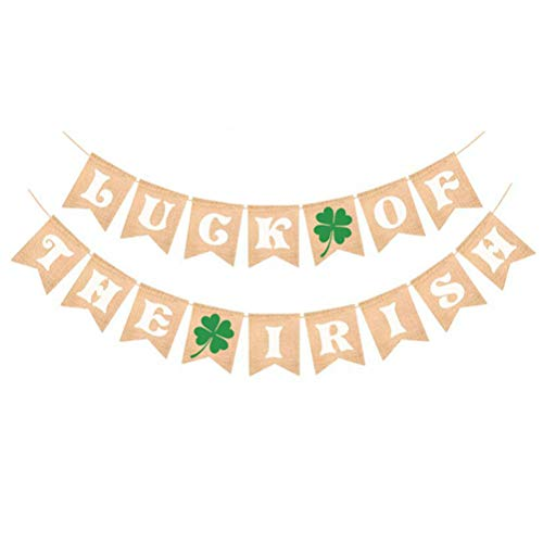 BESTOYARD Glück der irischen Shamrock Girlande Banner St. Patrick Tag Klee Banner Dekor Garland Flagge Dekorationen Wandbehang Dekoration Ornament Party Supplie