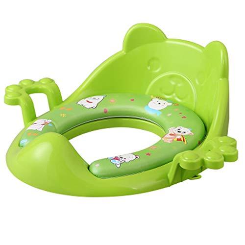 LCPG Toilette pour enfants Siège de toilette pour enfants Hommes et femmes Siège de toilette pour bébé Coussin de toilette Cuvette pour bébé avec coussin pour augmenter (Couleur : Green)