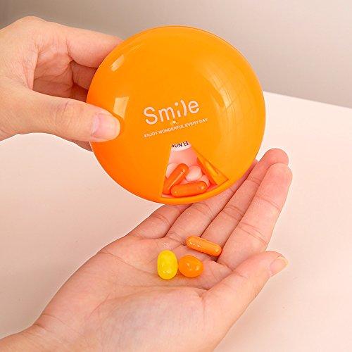 Huertuer tragbar Weekly drehbar Pillendose Medizin Container Storage Vitamin Case Holder, Plastik, Orange, 8.6x3.2cm -