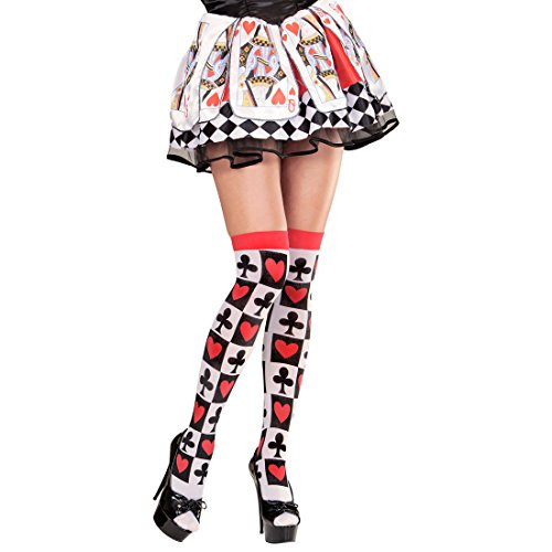 Amakando Spielkarten Overknees Herzkönigin Halterlose Strümpfe rot, schwarz, weiß Cosplay Herzdame Poker Damenstrümpfe Spielkarten Kniestrümpfe Faschingskostüm Accessoire Kostümzubehör