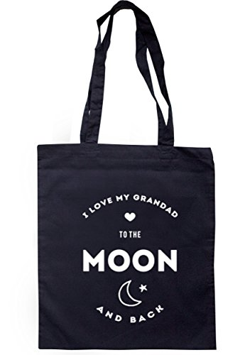 breadandbutterthreads i love my grandad to the Moon and Back Borsa 37,5cm x 42cm con manici lunghi Navy