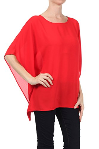Bluse Tunika Shirt Sommer Kimono Abend-Bluse Überwurf Stola Chiffon Rot