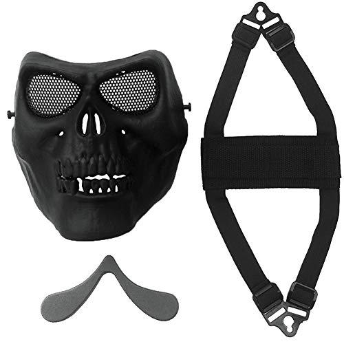 Schädel Airsoft Masken Full Face Maske Paintball CS Taktisches Spiel l Outdoor-Geist-Schablone Cosplay Maske Props mit Metal Mesh Augenschutz für Spiel Cosplay 1pc Schwarz (Easy Access Kostüm)