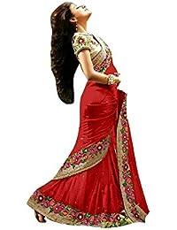 Rajeshwar Fashion Women's Georgette Georgette Saree (255 Z_Red)