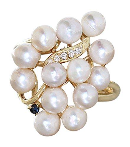 Hobra-Gold Exclusiver Ring Gold 585 mit Perlen Saphir Zirkonias Goldring Perle Perlenring Damenring RW 57
