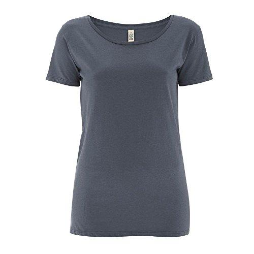 EarthPositive - Women's Organic Open Neck T-Shirt / Light Charcoal, M (Neck Open Womens)