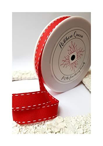 20 m Rolle Sattelstich Ripsband Weihnachten Hochzeit Geschenk Kurzwaren Schleifen Kuchen Verpackung, Red Grosgrain with Whitte Stitching, 20m x 15mm (1/2