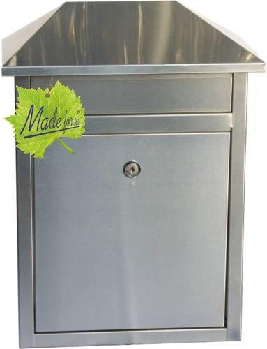Edelstahl Briefkasten mit extrabreitem Briefschlitz für Zeitungen & Kataloge, Maße 33,3x19x44cm - 2