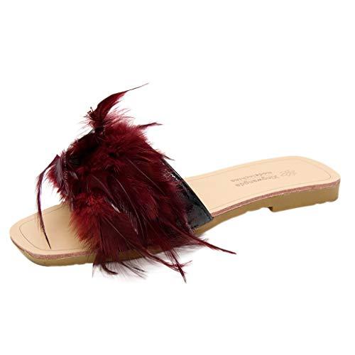 ✿✿Eaylis Damen Sandalen Hausschuhe Mit FederbäRen Volltonfarbe