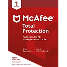 McAfee Total Protection 2020 | 1 Device | PC/Mac/Android/Smartphones | Activation code by post|1 Device|1|One time|PC|Download
