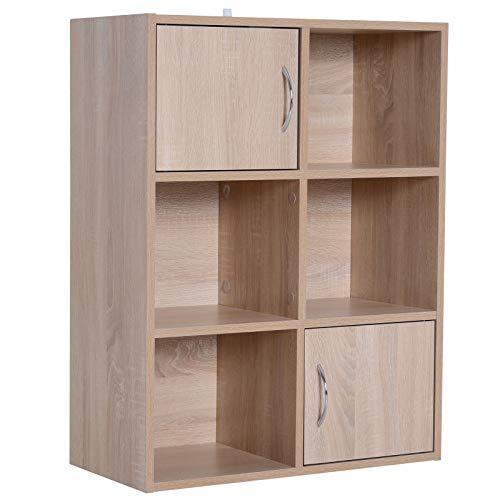 HomeCom HOMCOM Libreria Scaffale Mobiletto in Legno a 3 Ripiani con 4 Scompartimenti e 2 Ante in Legno Naturale 61.5x29.5x80cm