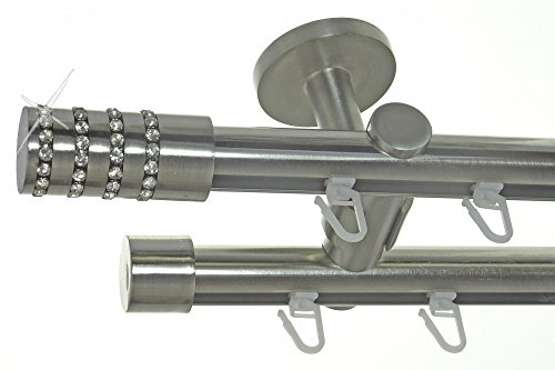 Innenlauf Gardinenstange Edelstahl Look 20mm Deckenbefestigung, 2-läufig Kristall, Länge wählbar D40 E39E30, Länge:280 cm