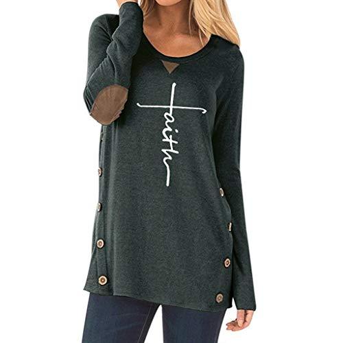 Oliviavan Damen Blusen Langarm-T-Shirt mit Buchstabenaufdruck Top Oberteile Sweatshirt Streetwear Schwarz Herbst Winter Frühling Bluse