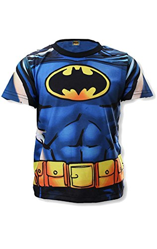DC Comics Batman Boys Blue Kostüm Neuheit-Spitze Hemden Alter 3 bis 8 (Disney Kostüme Universe)
