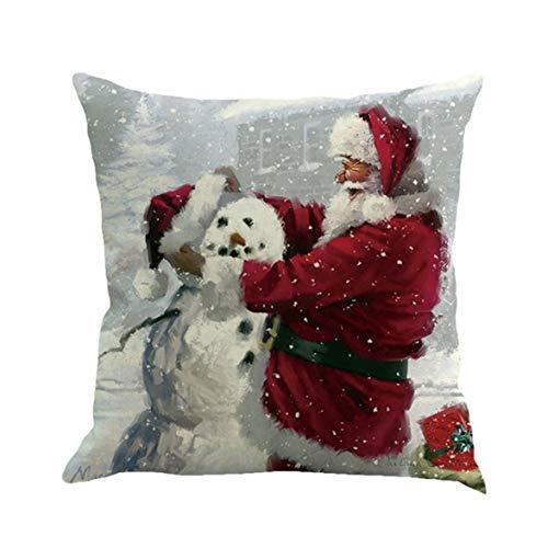 Monlladek Weihnachten Element Druck Claus Leinen Hug Pillowcase Kissenbezug Digital Printing Muster Plain Cotton -