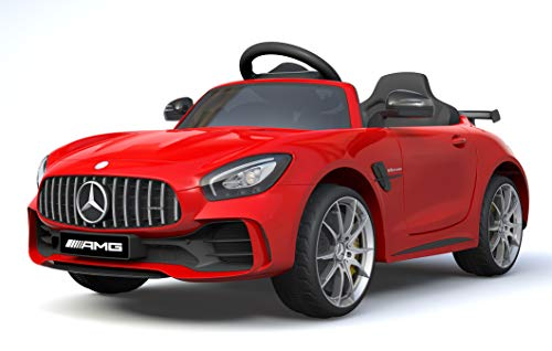 Ricco Mercedes Benz GTR AMG Licenced Two Motors Battery Powered Kids Electric Ride On Toy Car (RED)