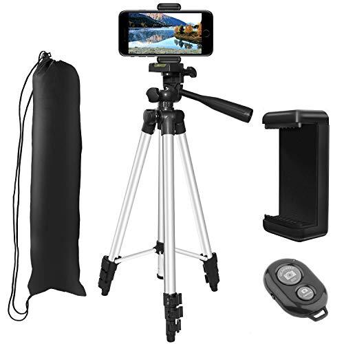 Trípode para Movil(127CM / 50'Pulgadas), PEMOTech Trípode de Cámara Ligero con [Soporte Universal para Teléfonos Inteligentes,Obturador Remoto Bluetooth], para iPhone,Samsung HUAWEI,DSLR Canon,Nikon