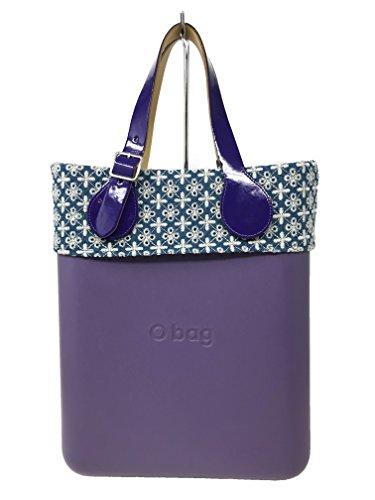 O chic + bordo sangallo su denim bianco + sacca interna nera + manici corti piatti vernice fibbia viola (viola desaturato)