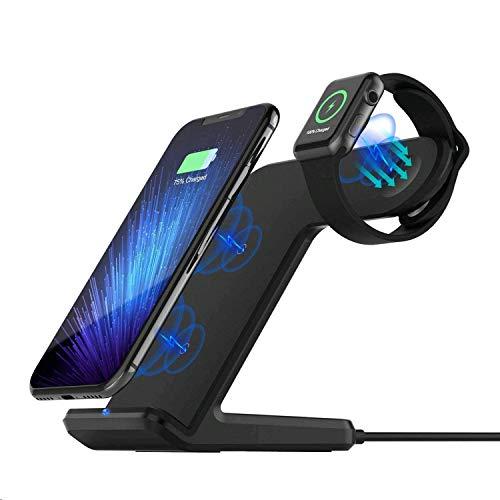 Sararoom 2 in 1 Qi wireless caricatore, supporto di ricarica wireless veloce (3 bobine 10 W 7.5 W 5 W) docking station per Apple Watch/iPhone 8/X/XS/XMax Galaxy S9/S8/S7 Edge
