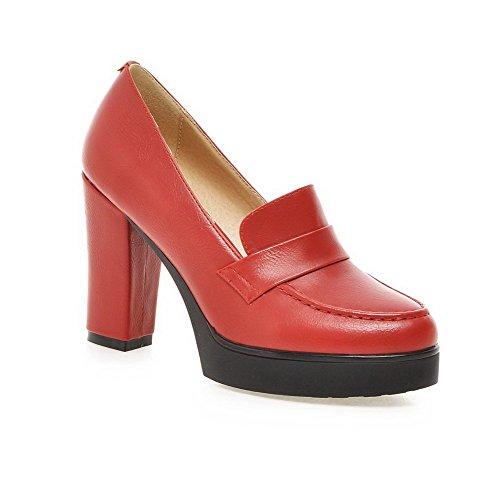 AllhqFashion Damen Weiches Material Rund Schließen Zehe Hoher Absatz Rein Pumps Schuhe Rot