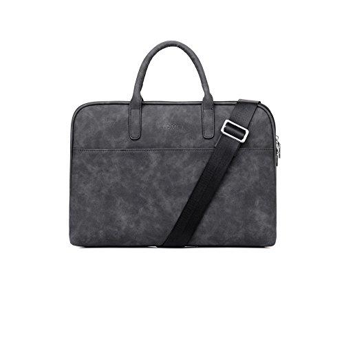 Zetiy 15-15,6 Zoll PU Leder Laptoptasche Aktentaschen Handtasche Tragetasche Schulter tasche Notebooktasche Sleeve Case (Aktentasche Leder Rosa)