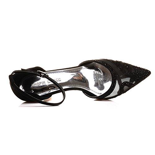 Moderne d'été pour femme Dentelle Stiletto Sexy Coupe Talon Mesh Matière respirante avec pailette et strass Sandales à talons Noir - Noir